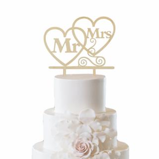Декорация за торта Господин и Госпожа / Mr. and Mrs, 2 бр. сърца дърво 13,5х13,5 см  /GD/