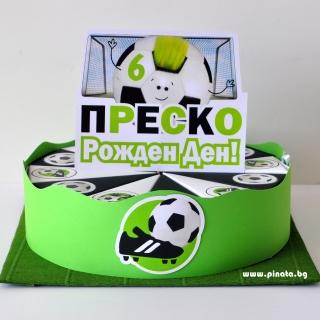 Хартиена торта с тематична декорация и персонализация Футбол
