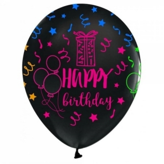Балон с цветен неонов печат Честит Рожден Ден, 30 см, черен