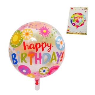 "Балон Рожден Ден / ""Happy Birthday"" шарени цветя /фолио/, 45х45 см"