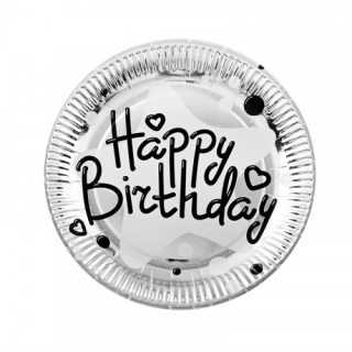 Хартиена парти чинийка Happy Birthday, сребърна фолио 23 см, 10 бр. в пакет