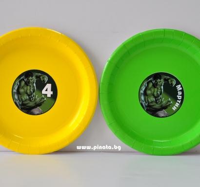 Персонализирана хартиена парти чинийка Хълк