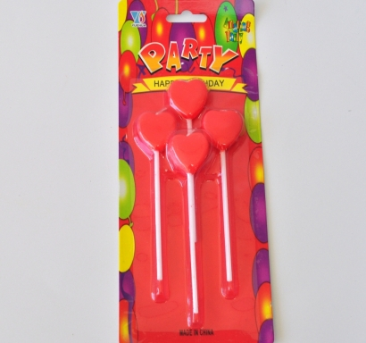 Свещички за рожден ден сърца, 4 броя
