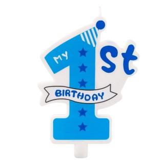 Свещичка за рожден ден, цифра едно, момче, първи рожден ден цвят син