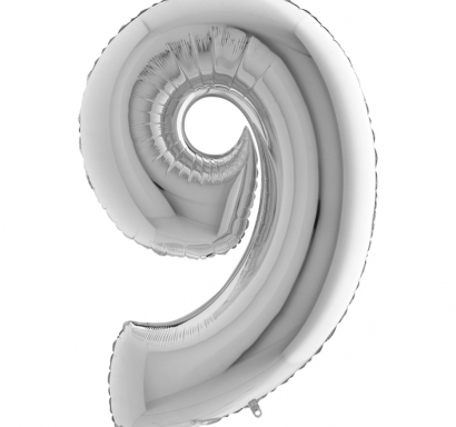 Фолиен балон цифра 9 цвят сребро - 102 см височина /40