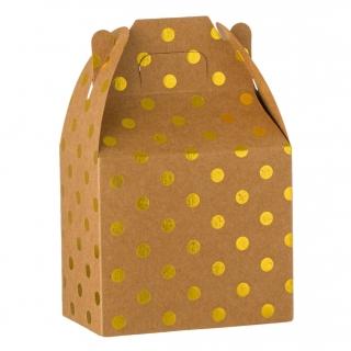 Кутийки за сладки или подаръчета, крафт картон със златни блестящи точки - 6 бр. в пакет