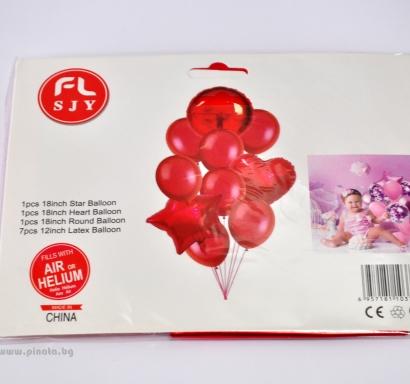 Комплект 10 бр. червени балони  - 3бр фолио, 7бр пастел