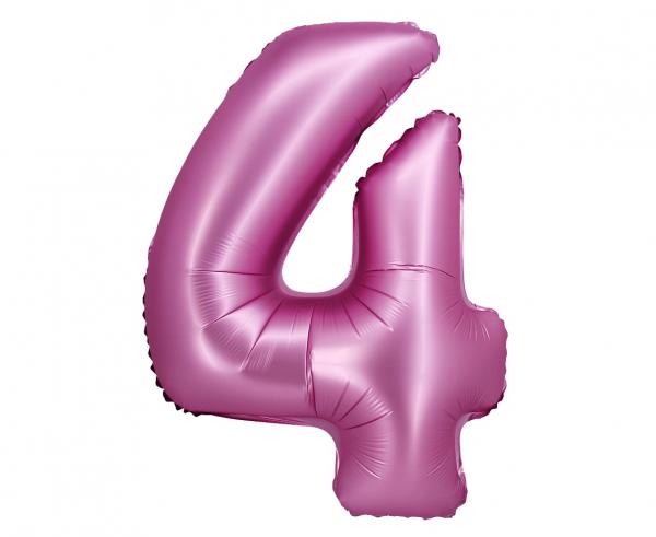 Фолиев балон цифра 0-9, цвят розов сатен, 76 см височина /Gd/