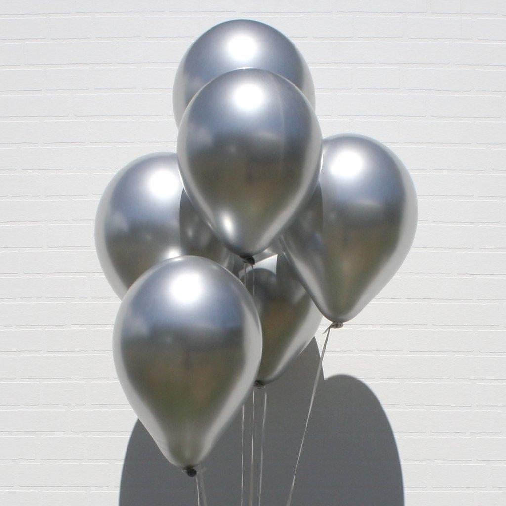 Балон сребърен металик, диаметър 30 см, 10 бр. в пакет