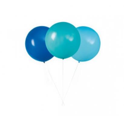 Балон голям, диаметър 60,9 см, 3 бр. в пакет микс цветове /светло син, тъмно син, карибско синьо/
