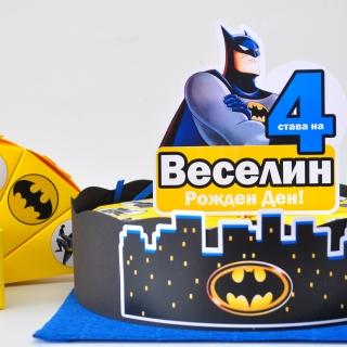 Хартиена торта с тематична декорация и персонализация Батман