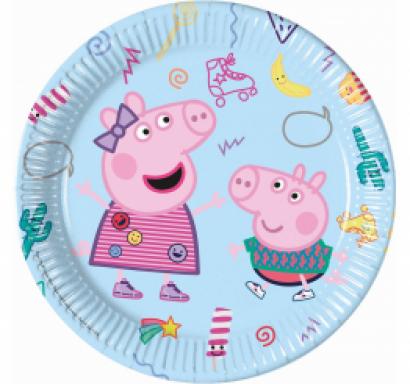 Хартиена парти чинийка Пепа Пиг / Peppa Pig 23 см. диаметър, 8 бр. в опаковка /Gd/