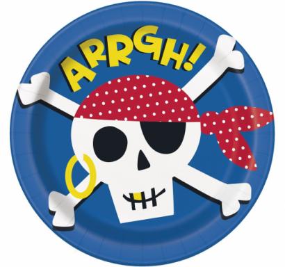 Хартиена парти чинийка Пират, череп / Ahoy Pirate, 23 см. диаметър, 8 бр. в опаковка /Gd/