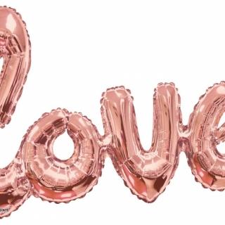 Фолиев балон форма  LOVE, 100х60 см розово злато