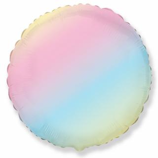 Фолиев балон кръг преливащи пастелни цветове тип дъга, 45 см Flexmetal, /Gd/