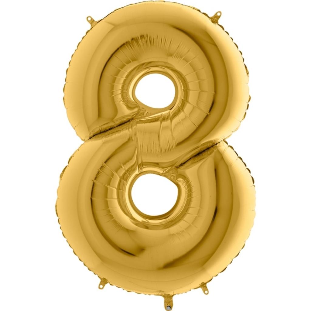"""Фолиен балон цифра 8 цвят злато - 102 см височина /40""""/"""