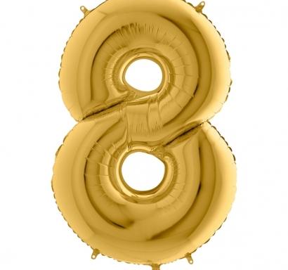 Фолиен балон цифра 8 цвят злато - 102 см височина /40