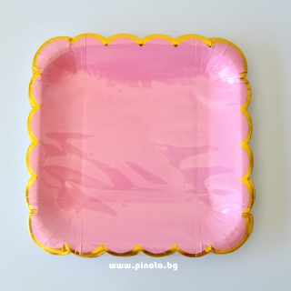 Хартиена парти чинийка светло розова със златен кант, 23х23см 10 бр. в опаковка