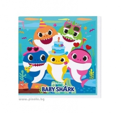 Парти салфетки Бейби Шарк 16 бр в пакет, Baby Shark