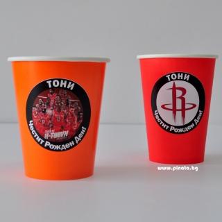 Персонализирана хартиена парти чашка 250 мл Баскетбол, Хюстън Рокетс, 5бр. пакет