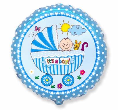 Фолиев балон Бебе момче количка / Baby Buggy Boy 40 см, Flexmetal /Gd/