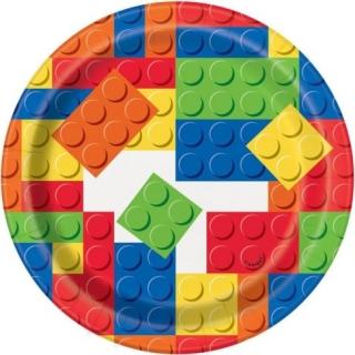 Хартиена парти чинийка Строителни блокчета Лего 18 см, Building Blocks