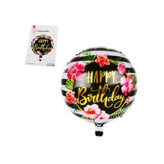 """Балон Рожден Ден / """"Happy Birthday"""" черно и златно цветя /фолио/, 45х45 см"""