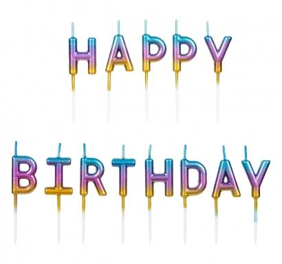 Свещички букви за рожден ден с текст Happy Birthday, металик цвят дъга - преливащи цветове