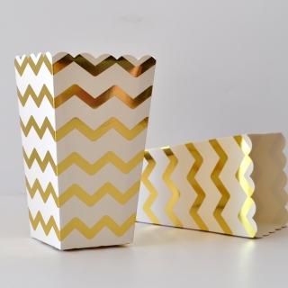 Кутийки за пуканки или сладки, бели със златни блестящи ленти - 6 бр. в пакет
