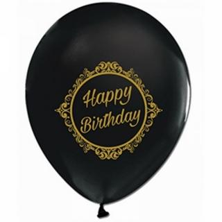 Балон с печат Честит Рожден Ден, 30 см, черен с златен печат