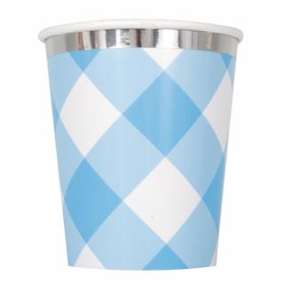 Хартиена парти чашка Първи рожден ден синьо райе и сребро / First Birthday Blue Gingham, 8 бр. в опаковка /Gd/