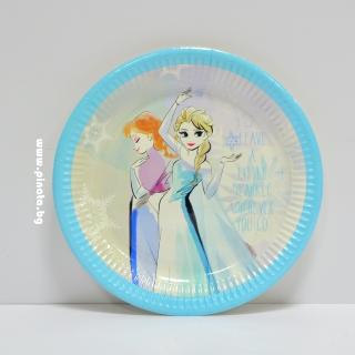 Хартиена парти чинийка Елза и Ана Замръзналото кралство  23 см, лицензирани Дисни