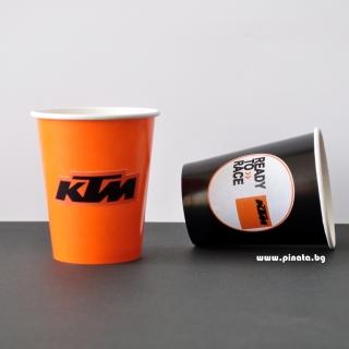 Персонализирана хартиена парти чашка 270 мл КТМ мотори