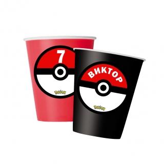 Персонализирана хартиена парти чашка 250 мл Покемон, 5бр. пакет
