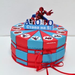 Хартиена торта с капаче и тематична декорация Спайдърмен