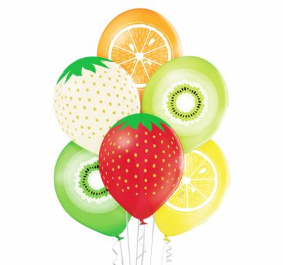 Комплект 6 бр. премиум балони Плодове / Fruits, микс пастелни цветове Belbal /Gd/