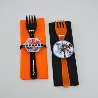 Парти комплект салфетка и виличка Бакуган 33х33 см