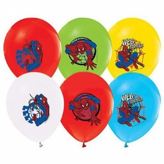 Балон с печат Спайдърмен, диаметър 30 см, 5 бр. в пакет, лицензирани
