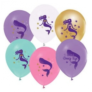 Балон с печат Русалка, диаметър 30 см, 5 бр. в пакет микс цветове