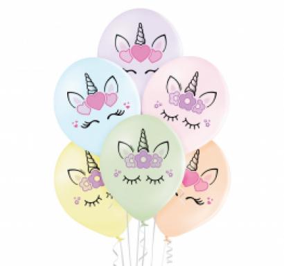 Комплект 6 бр. латексови балони в пастелни цветове с печат Еднорог /Gd/