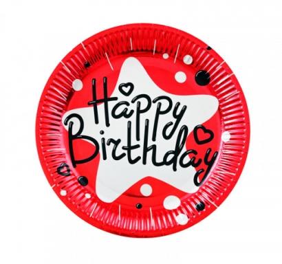 Хартиена парти чинийка Happy Birthday, червена фолио 23 см, 10 бр. в пакет