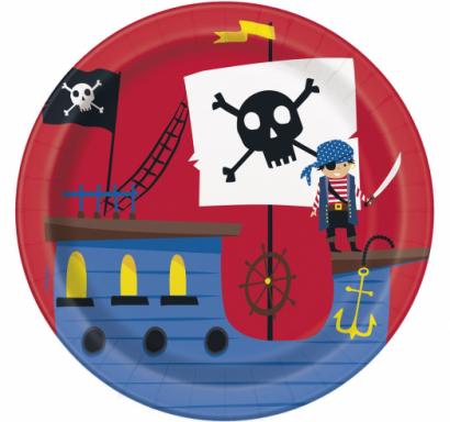 Хартиена парти чинийка Пират / Ahoy Pirate, 17,1 см. диаметър, 8 бр. в опаковка /Gd/