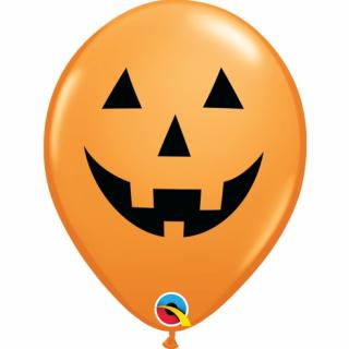 Комплект 6 бр. оранжеви балони с печат Хелоуин Тиква / Halloween Pumpkin,  Qualatex /Gd/