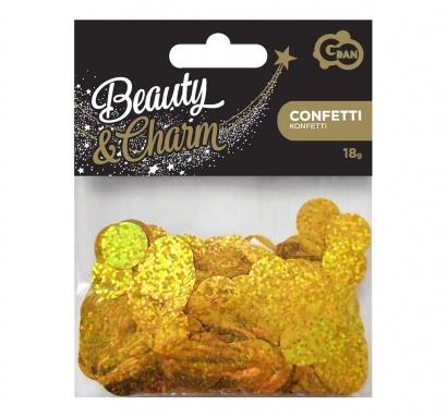 Конфети за балони блестящи кръгли, цвят злато холограмни, 18гр. 1,5 см диаметър /Gd/