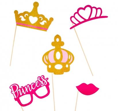 Пропсове за забавни снимки Принцеси, 5 бр комплект
