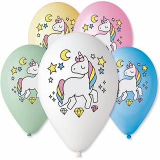 Комплект 5 бр. премиум балони с печат Еднорог, микс пастелни цветове Gemar /Gd/