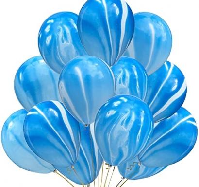 Балони Мрамор/Marble преливащи цветове тъмно и светло синьо и бяло, диаметър 30 см, 10 бр. в опаковка