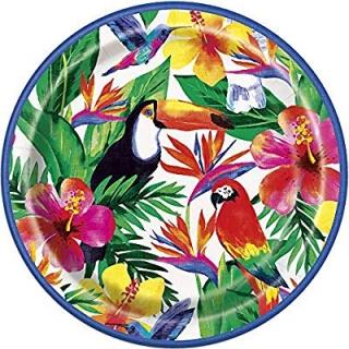 Хартиена парти чинийка Хавайско тропическо парти 23 см, Palm Tropical Luau