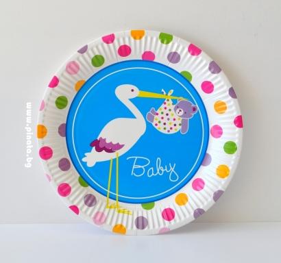 Хартиена парти чинийка Честито Бебе момче /Добре дошъл/