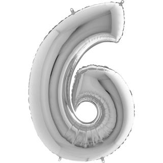"Фолиен балон цифра 6 цвят сребро - 102 см височина /40""/"